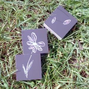 Cubes ardoise dessin fleur
