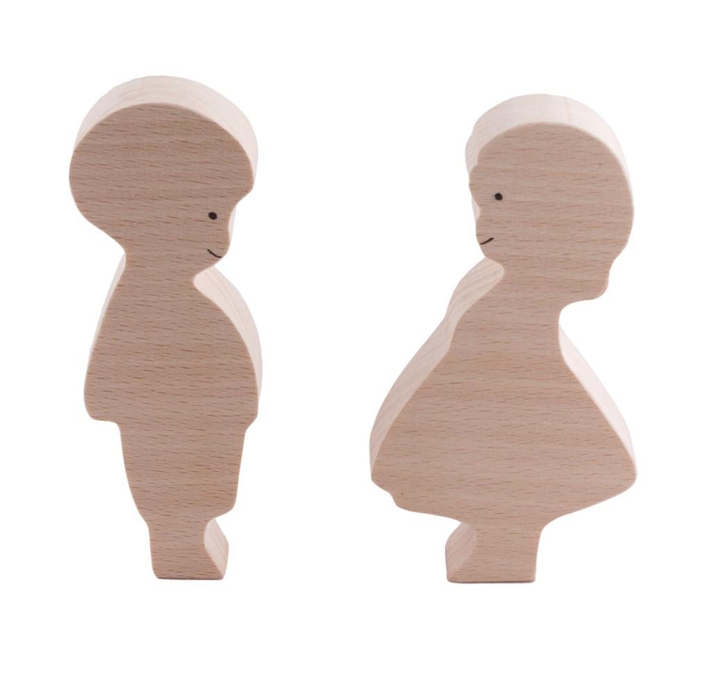 Figurine jouet en bois brut