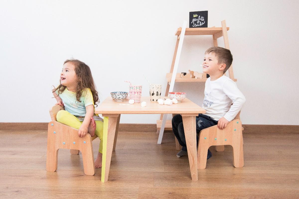 Table basse fauteuil et étagère en bois